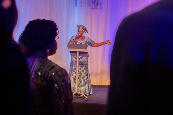 Chude's mum, Mrs Ngozi Jideonwo on stage