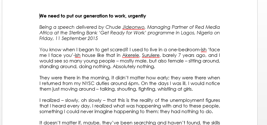 We need to put our generation to work, urgently