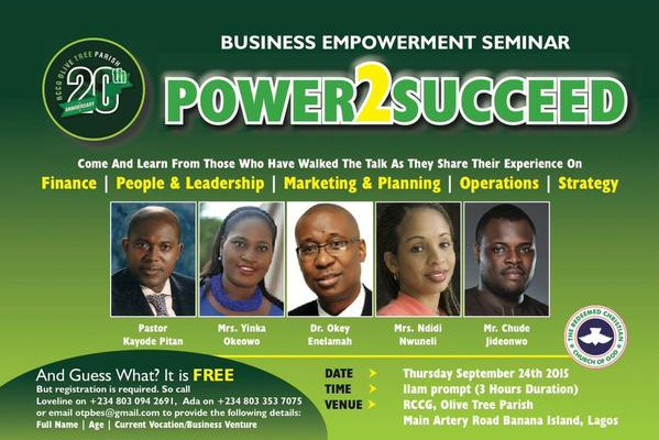 African Capital Alliance's CEO Okey Enelamah, Chude Jideonwo and others to speak at Business Empowerment Seminar organised by RCCG