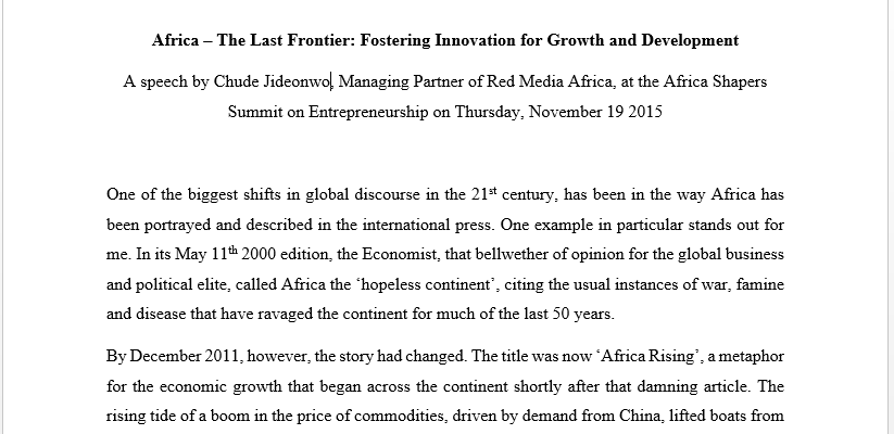 Africa – The Last Frontier: Fostering Innovation for Growth and Development | A speech by Chude Jideonwo at the Africa Shapers Summit on Entrepreneurship